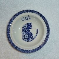 Calico Cat Blue Chintz Bowl Dish Burleigh Staffordshire England Kitty Flowers