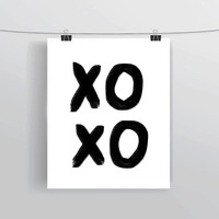 XOXO hugs and kisses hand lettered original typography print, prints and posters, home dorm apartment decor