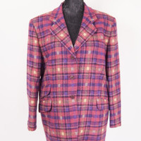 Vintage John Partridge Womens Pink Tartan Tweed Wool Jacket Ladies Blazer UK 18