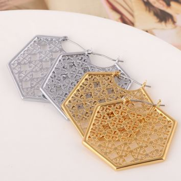 Tory Burch Fashion New Personality Hollow Polygon Earring Accessories
