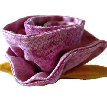 Lilac and yellow fabric flower. Fabric rose. Brooch flower.