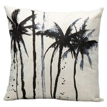 Hyha Plant Cushion Cover Tropical Palm Trees Decorative Pillow Cover