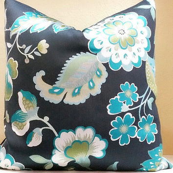 Charcoal Floral print pillow - Pick your pillow size - 18x18, 20x20, 22x22, 24x24
