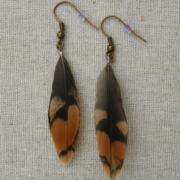Snipe Bird Brown Feather Earrings - Native American Indian navajo style earrings