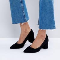 Bershka Chunky Heel Court Shoe at asos.com
