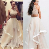 Exquisite Evening Dress High Quality Ball Gown High Neck Beading Sleeveless Summer Style Two Pieces Prom Dress Plus Size