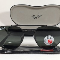 $213 New Authentic Ray-Ban Polarized Marshal Sunglasses Black Green Lens RB3648