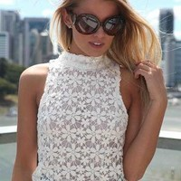 Crochet Embroidered Floral Lace Crop Top with High Neckline