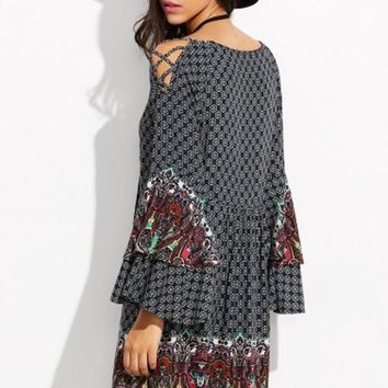Bohemia Patchwork Tribal Floral Print Peplum Hollow-out Flare Sleeve Vintage Mini Dress