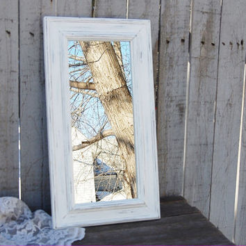 Mirror, White, Shabby Chic, Upcycled, Beach Decor, Rustic, Distressed, Wedding Decor, Wood Framed, Painted, Hand Painted