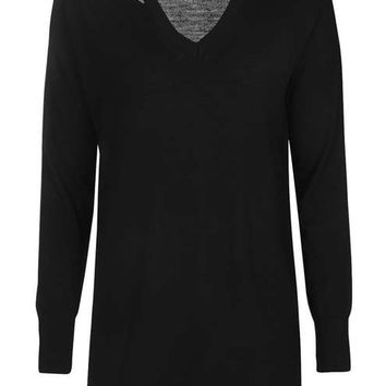 Longline Slash V Jumper - Sweaters & Knits - Clothing