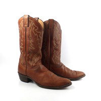 Men's Cowboy Boots Vintage 1980s Justin Carmel Whiskey Brown size 11 1/2 A