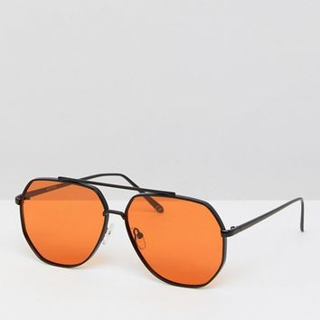 ASOS Black Metal Aviator Fashion Sunglasses With Orange Lens at asos.com