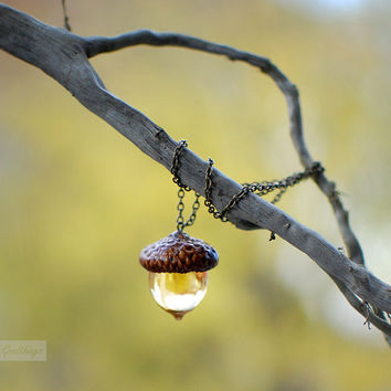 Woodland Amber Acorn Autumn Necklace.Fall jewelry- botanical resin jewelry