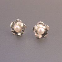 Sterling Silver Flower and Pearl Cab Post Earrings