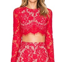 Join In Red Lace Long Sleeve Scoop Neck Open Back Crop Top Two Piece Short Set