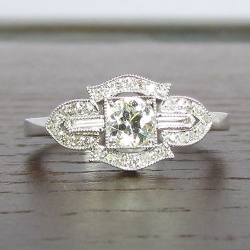 Vintage Unique Art Deco Style Diamond Engagement Ring - STUNNING! GIA Appraisal Included!
