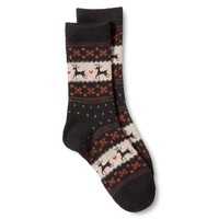 Women's Crew Socks - Black Fairisle Reindeer