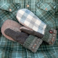 Gray and Brown Plaid Recycled Wool Mittens for Women Handmade in Wisconsin Green Creme earthy neutral colors Sweaty Mitts Stocking Stuffer