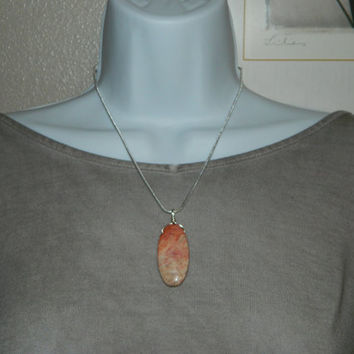 40ct. Pink Mixed Stone, Semi Precious, Agate, Pendant, Necklace, Oval, Natural Stone, 159-15