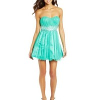 Sequin Hearts by My Michelle Juniors Strapless Lace Up Back Dress with Jewel Waist, Mint, 11
