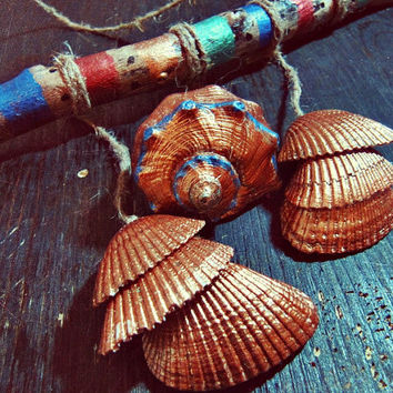 Bohemian Seashells Driftwood Mobile - Boho Wall Hanging  - Made to Order -  Boho Tribal Decor - Hippie Home Decor - Nursery Wooden Mobile