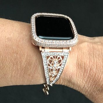 Apple Watch Band Cuff Bangle Rose Gold Women Crystal Rhinestone Filigree 38 40 42 44mm Series 1 2 3 4/Case Cover Bezel 2.5mm Lab Diamond