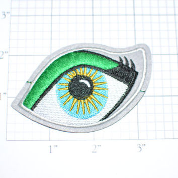Blue Eye with Green Eyeliner Iron-On Embroidered Clothing Patch - Free Shipping e17a