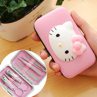 1 SET Cute 7pcs Pink Hello Kitty Nail Clippers Set Stainless Manicure Set Kit Gift