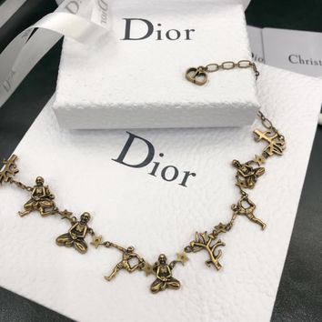 """Dior"" Golden Yoga Modeling Series Clavicle necklace Accessories"