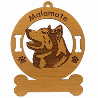 3519 Malamute Head Ornament Personalized with Your Dog's Name