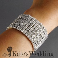 Bridal Rhinestone Stretch Bracelet 9-row Silver Tone - Ideal for Wedding, Prom, Party or Pageant
