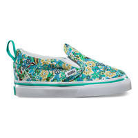 Vans Slip On V(T)-(Dusty Floral)Pool Green/Wht