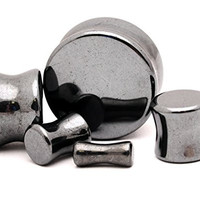 """Hematite Stone Plugs - 7/16"""" - 11mm - Sold As a Pair"""