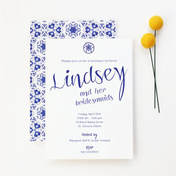 Bridesmaid Luncheon Invitations Blue and White Beach Wedding Southern Bridal Shower Invite Custom Wedding Shower Invitation Sand Dollar