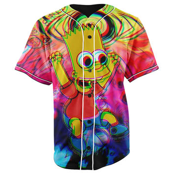 Trippy Bart Simpson Button Up Baseball Jersey