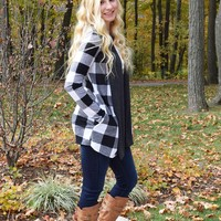 Open Front Plaid Cardigan