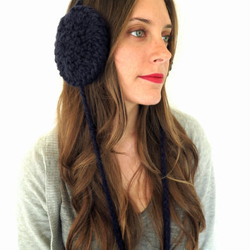 Chunky Soft Knit Ear Muffs Ear Warmers Headband // Muffs in Midnight Ride // Many Colors and Vegan Options Available