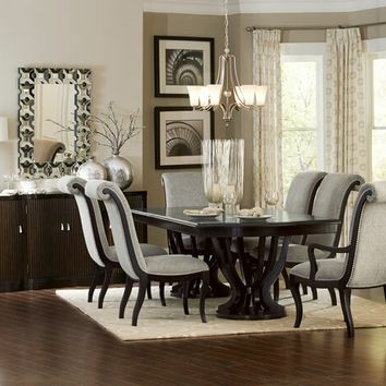 7 pc Savion collection espresso finish wood double pedestal dining table set