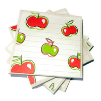 Red and Green Apple Ceramic Coasters, Set of Four