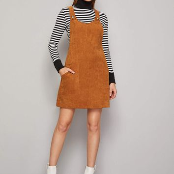 Double Pocket Corduroy Pinafore Dress
