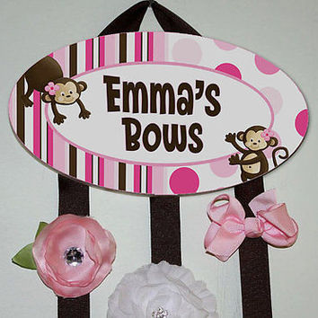 HAIR BOW HOLDER Personalized Pink Monkey HairBow Clip Holder Organizer HB0034