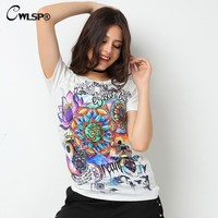 CWLSP Fashion Women T Shirts Short Sleeve women Print Letters T-Shirts Female Retro Graffiti Flower Tops Tee Lady T Shirts QA876