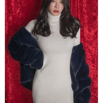 Ivory Turtleneck Knitted Bodycon Sweater Dresses Sexy Clubber Mini