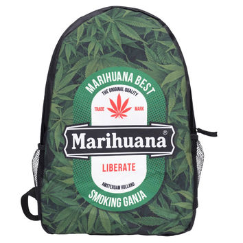 Weed Letter 3D Printing backpack black mochila masculina 2016 Fashion New bag school canvas backpack mochilas mujer sac a dos