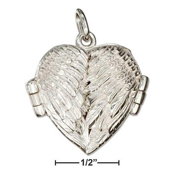 Sterling Silver Charms:  High Polish Angel Wings Heart Locket