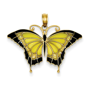 14K Yellow Acrylic Wings Butterfly Pendant K4233