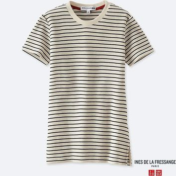 INES - T-SHIRT COL ROND MANCHES COURTES FEMME | UNIQLO
