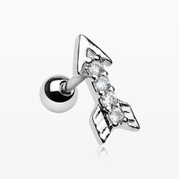 Arrow Sparkle Cartilage Tragus Barbell