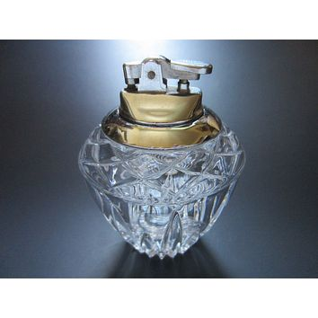 Cut Crystal Table Lighter White Metal Japan Movable Topper